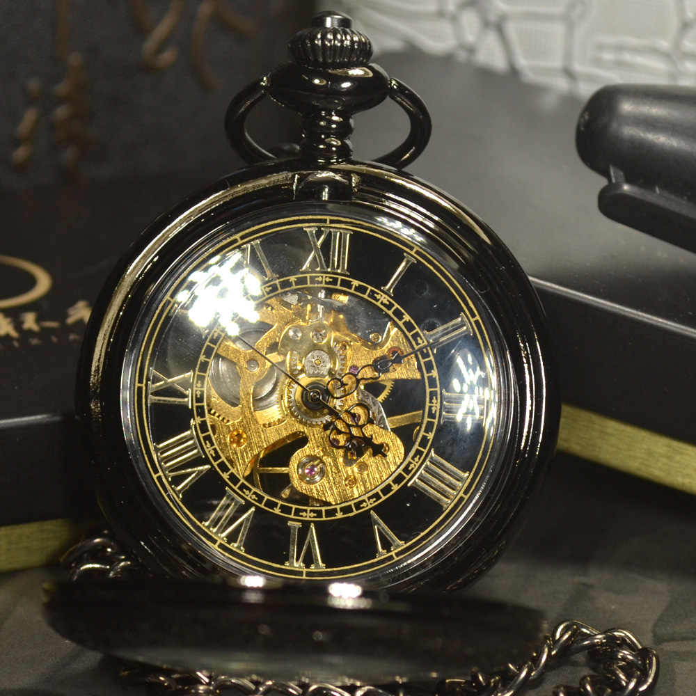TIEDAN noir Steampunk squelette mécanique montre de poche hommes Antique marque de luxe collier poche & Fob montres chaîne mâle horloge