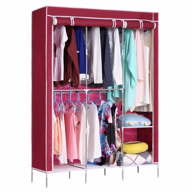Homdox New arrival Practical Portable Clothes Storage Rack Closet Wardrobe  Clothing Hanger bedroom furniture us6 #