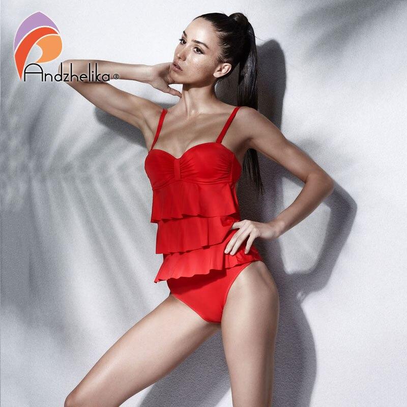 363601278d12 Andzhelika Push Up traje de baño de una pieza traje de baño para mujer 2018  nuevo Sexy volante traje de baño de cintura alta traje de baño ...