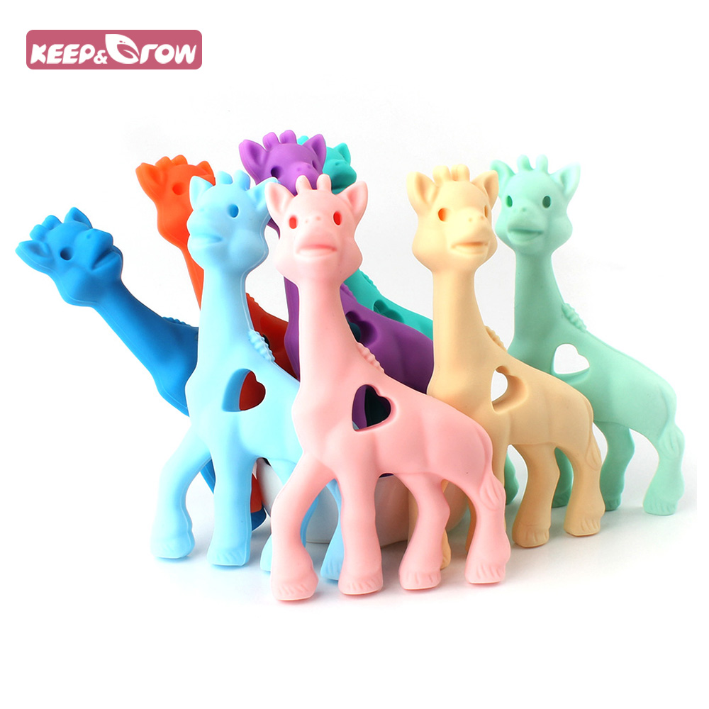 Keep&Grow BPA Free 1Pc Giraffe Baby Teethers Food Grade Silicone Beads Baby Nursing Necklace Pendant Pacifier Chain Accessories