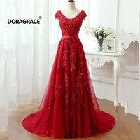 Doragrace robe de soiree Applique Lace Tulle Red Prom Dress Long Formal Evening Dresses Plus Size