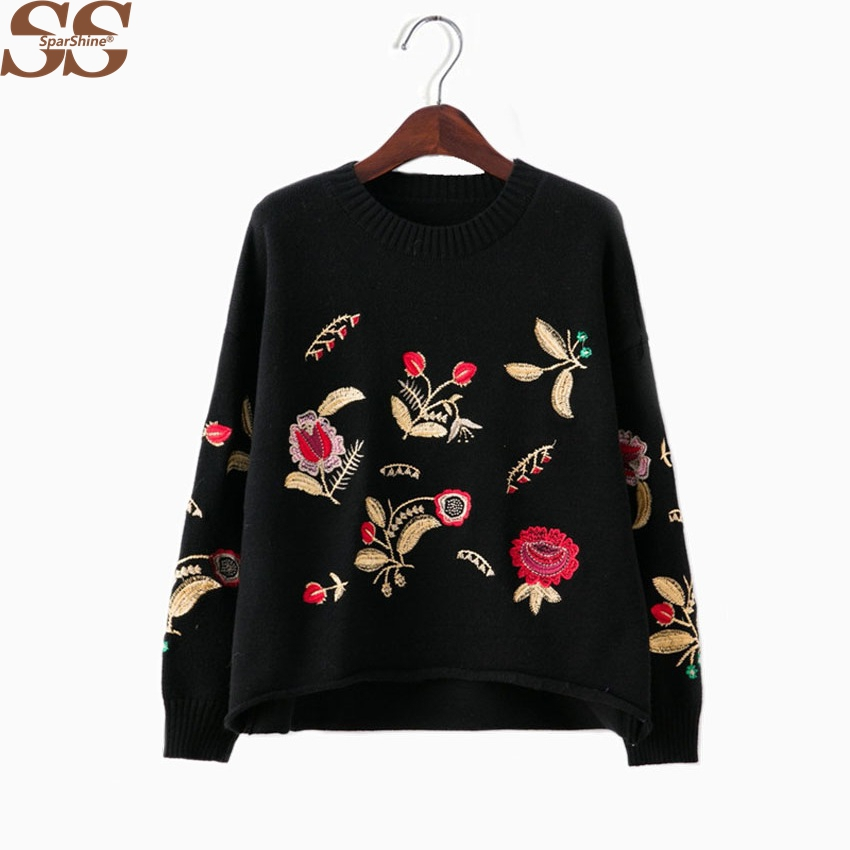 2017 Winter Embroidery Women Sweaters And Pullovers Female Tops Pull Femme High Quality Mujer Knitted Christmas Sweaters