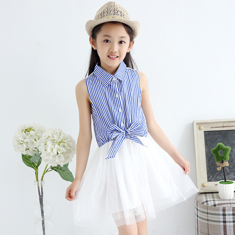 Free Shipping 2017 Summer Baby S Dress Lace Sleeveless Stripe Princess 3 12 Year Old In Dresses From Mother Kids On Aliexpress