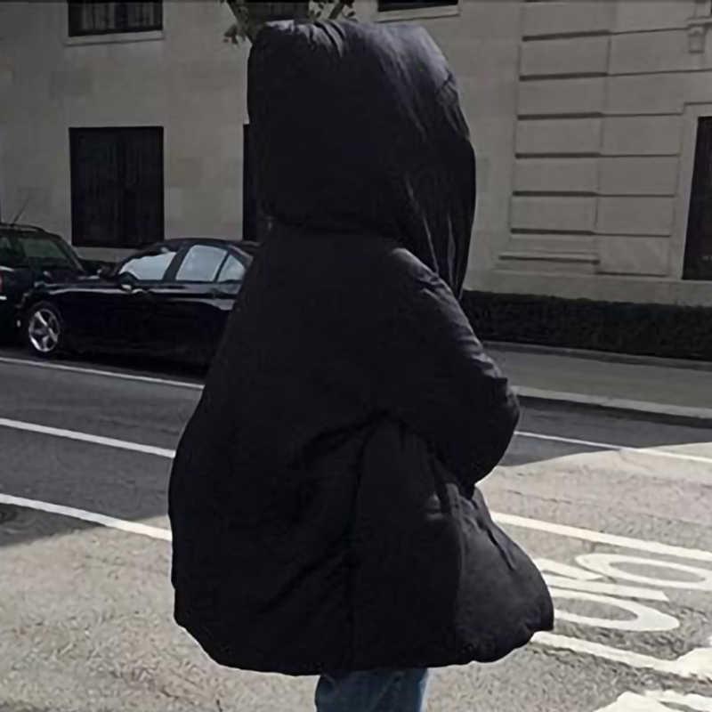 [EAM] свободный черный свободный большой размер пуховик новый с капюшоном длинный рукав теплые женские парки Мода Tide осень зима 2019 LE8700