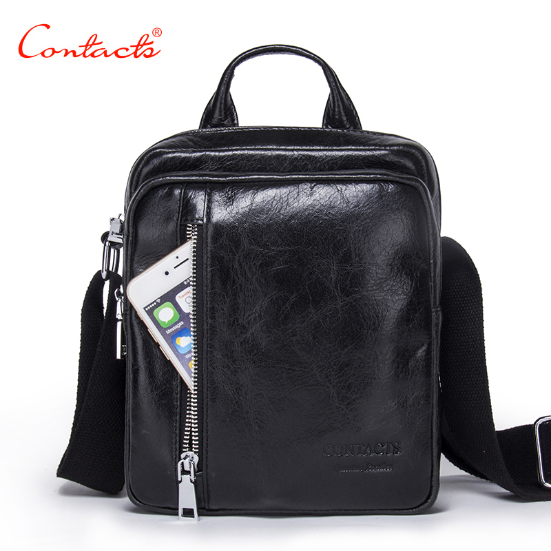 CONTACT'S Men bag Newest Fashion Mens Shoulder Bags High Quality Genuine Leather Casual Messenger Bag Business Men's Travel Bags high quality casual men bag
