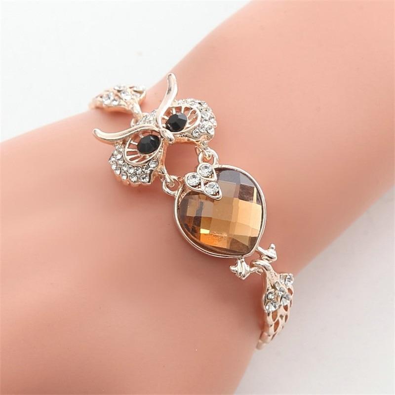 2019 la más nueva marca de 7 colores búho pulsera cromo enlace de cadena pulseras brazaletes para las mujeres joyería de moda
