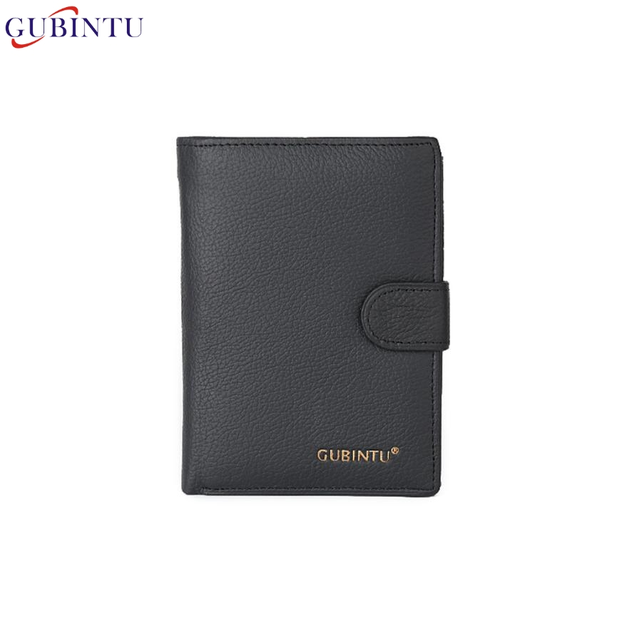 Naivety New GUBINTU Men Genuine Leather Black Fashion Bifold Wallet Credit ID Card Slim Purse Holder 29S61123 drop shipping