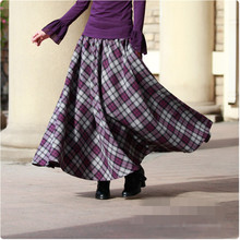 Vintage Spring Autumn Wool Maxi Skirt Women Elastic Plaid Woolen Warm Swing Skirt Falda Invierno High Waist Retro Skirt TT548