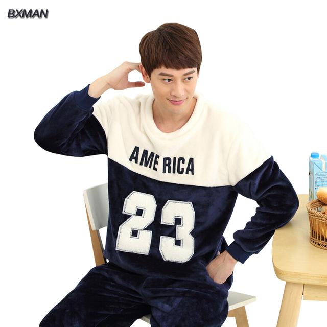 BXMAN Brand Men's Winter Pijamas Hombre Casual Pajamas Thicken Warm Polyester Letter O-Neck Full Sleeve Men Pajamas Sets 148