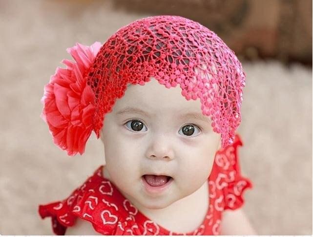 Baby Girls Cute Big Flowers Headband Lace Crochet Thairband