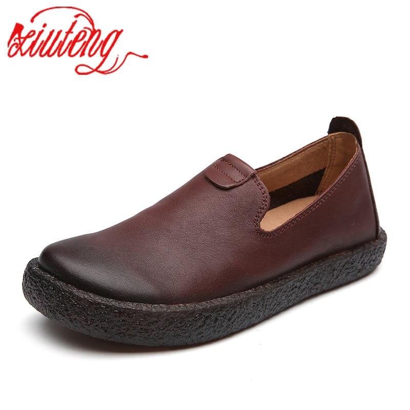 Xiuteng 2020 Высококачественная винтажная женская обувь на плоской подошве из коровьей кожи ручной работы Женская Повседневная Осенняя обувь из натуральной кожи|Обувь без каблука|   | АлиЭкспресс