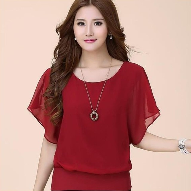 45464188b2c60 Naiveroo Chiffon Batwings Blouse Women Short Sleeve Oversize Plus Size 5X  Casual Loose Tees Tops Summer