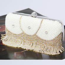 купить ONEFULLfashion dinner bag rhinestones handmade beaded handbag women pearl dinner diamonds clutch lady evening party banquet bag по цене 2598.73 рублей