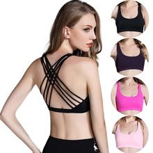 MAOMEREJ  Women Sexy Cross Straps Sports Bra Fitness Shoulder Strap Beauty Back Design Seamless Running Sport Bras