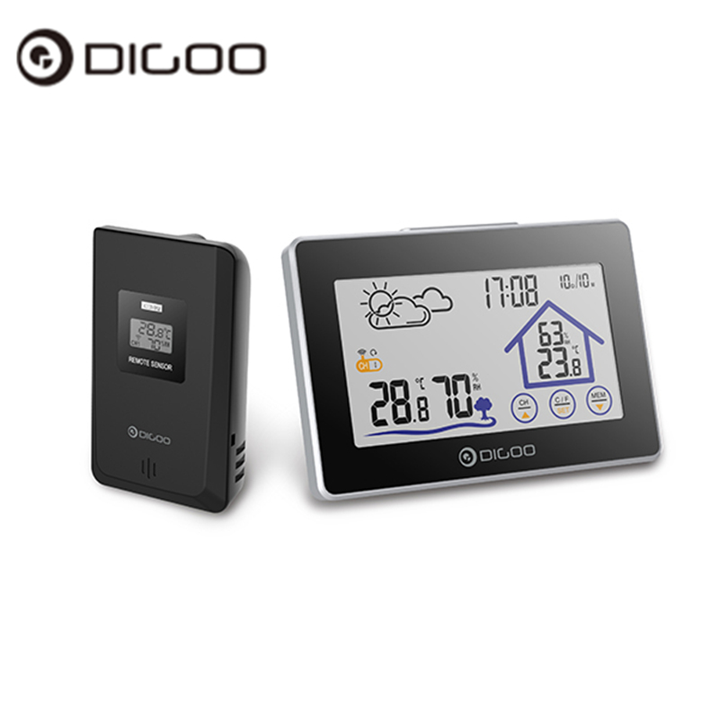 Digoo DG TH8380 TH8380 Wireless Touch Screen Thermometer Hygrometer Weather Station Thermometer Outdoor Forecast Sensor Clock