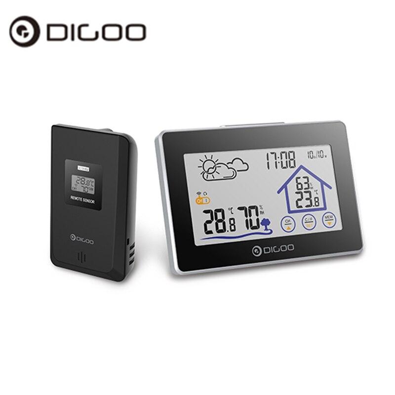 Digoo DG-TH8380 TH8380 inalámbrico pantalla táctil termómetro higrómetro estación meteorológica termómetro al aire libre pronóstico del reloj del Sensor