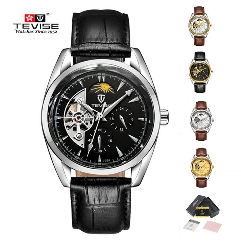 tevise men watch tourbillon automatic mens watches top brand luxury moon phase watch mechanical leather strap watch for man saat forsining men luxury brand moon phase genuine leather strap watch automatic mechanical wristwatch gift box relogio releges 2016