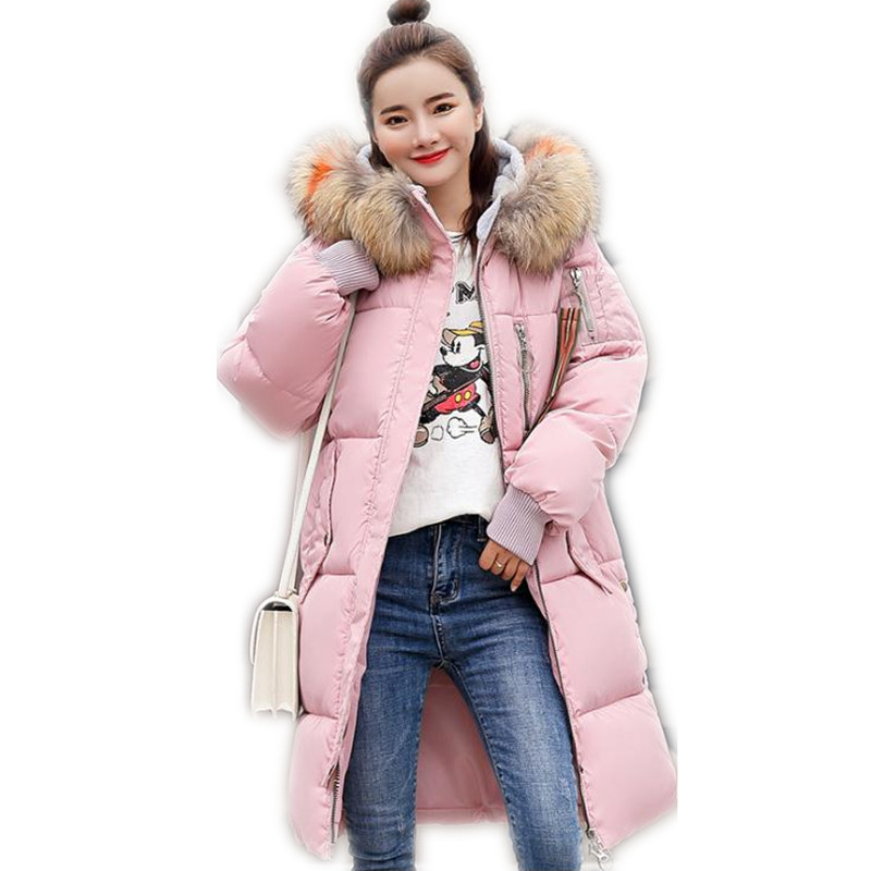 Plus Size 3XL 2018 Fashion Winter Women Thicken   Parkas   Medium-Long Hooded Large Fur Collar Down Cotton Jacket Warm OuterwearQ418
