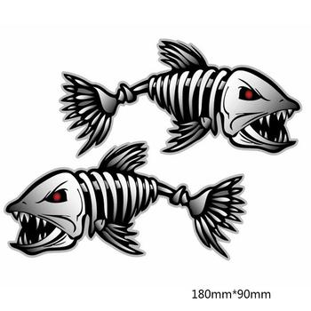 3D Car Styling Car Sticker Cartoon Animals Go Fish Window Body Decal Sticker Skeleton Shark Car Truck Motor Reflective Warning Стикер