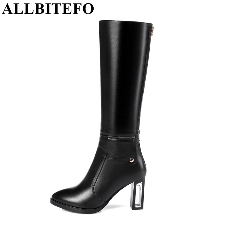 ALLBITEFO 2017 New arrival pointed toe Transparent heel women knee high boots genuine leather+Synthetic high heels women bootsALLBITEFO 2017 New arrival pointed toe Transparent heel women knee high boots genuine leather+Synthetic high heels women boots