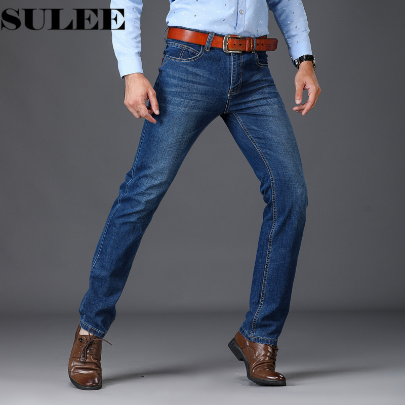 SULEE Brand Mens Jeans Stretch Blue Denim Business Slim Fit Jeans Size 38 40 Autumn Winter Jean for Men