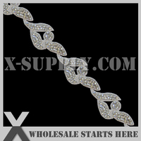 White Crystal Applique Trim for Ice Skating, Belly Dancing, DHL Free Shipping