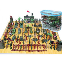 144Pcs 5cm Plastic Soldier Sand Table Scene Model World War II Soldier Military Toy Set for Children(China)
