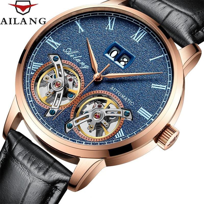 비즈니스 남성 더블 뚜르 비옹 기계식 시계 럭셔리 브랜드 남성 달력 방수 시계 자동 자체 바람 손목 시계-에서기계식 시계부터 시계 의  그룹 1