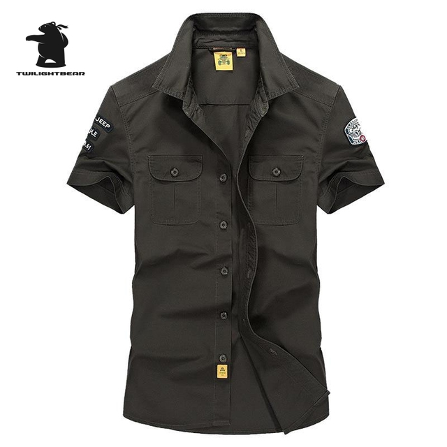 High quality Brand Military  Men's Casual Shirt Summer Fashion 100% Cotton Plus Size Short Sleeve Shirts Men Pull Home C16B1002