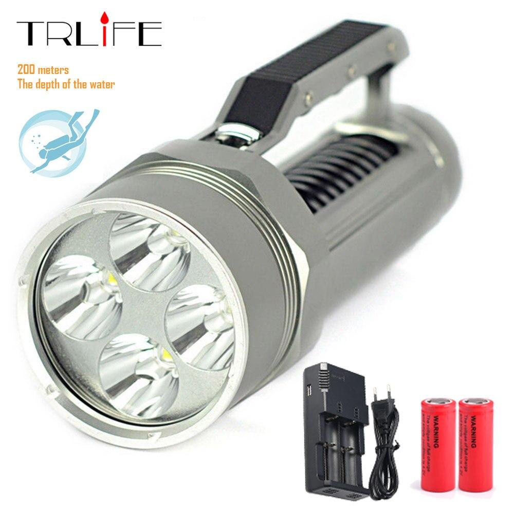 50000LM Underwater 200m Diving Tactical Flashlights 4x L2 Lantern LED Flashlight Torch Scuba Divi Light Waterproof