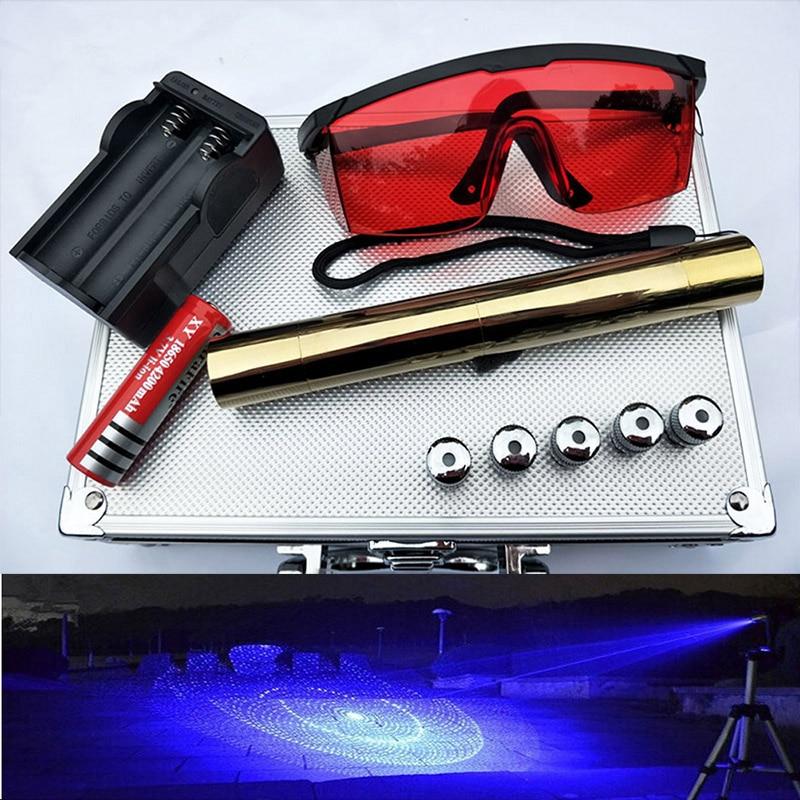 Bougie allumée cigarette puissante rallonge Laser torche 450nm 10000 m focalisable Laser bleu pointeurs de vue lampe de poche brûler match