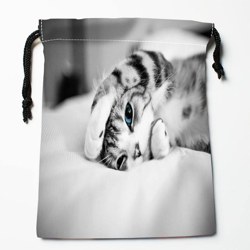 High Quality Custom Cat Printing Storage Bag Drawstring Bag Gift Satin Bags 27x35cm Compression Type Bags