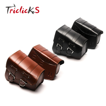 Triclicks PU Leather Saddlebag Motorcycle Saddle Bags L&R Side Storage Motorbike Tool Bag For Harley Sportster XL883 XL1200