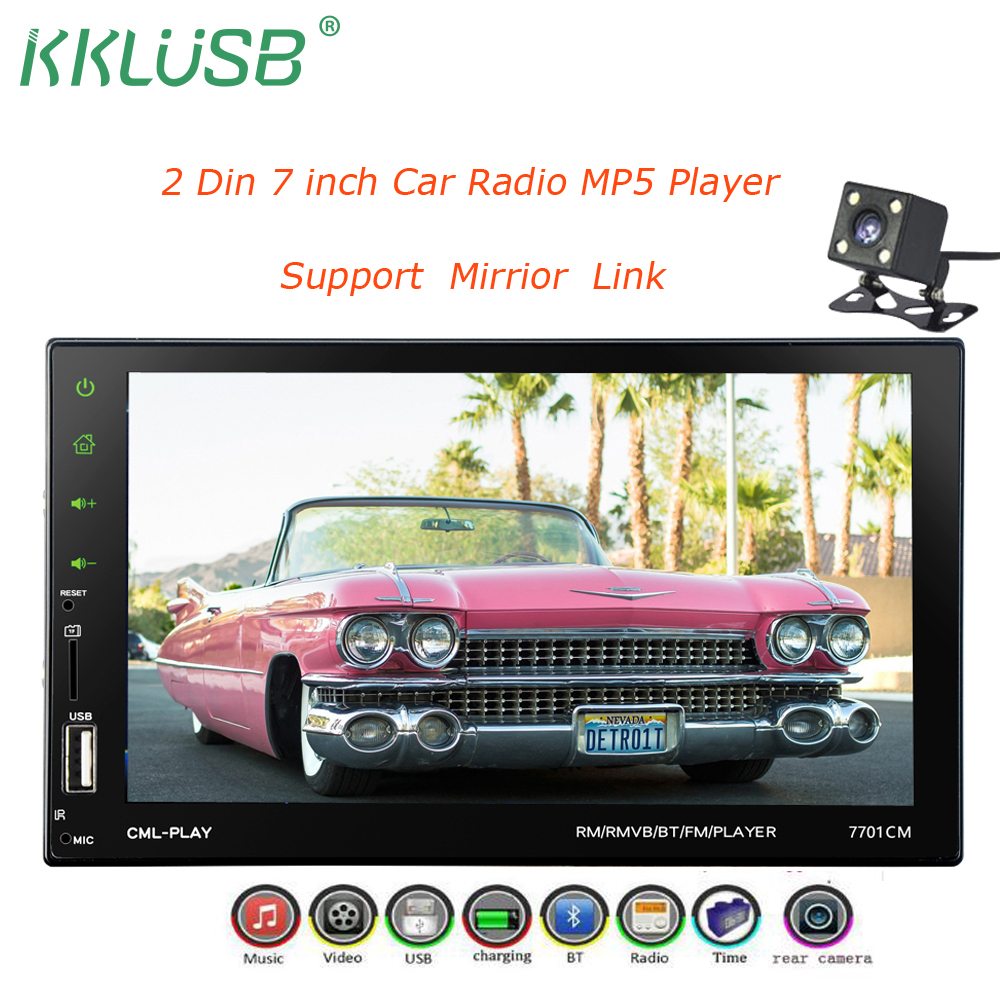 2 din Car Radio 7 Touch Screen Car MP5 Multimedia Player Android Mirror Link +USB Charger Bluetooth Rear View Camera 7701CM 2 din 7inch 1080p hd in dash touch screen dvd car mp5 player bluetooth auto radio multimedia rear view camera