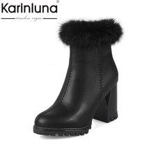 KARINLUNA Gran Tamaño 31-43 de Moda Los Tacones Altos Zapatos de Las Mujeres Mujer Cremallera de Otoño Invierno Tobillo Botas de Plataforma de la Señora calzado Negro