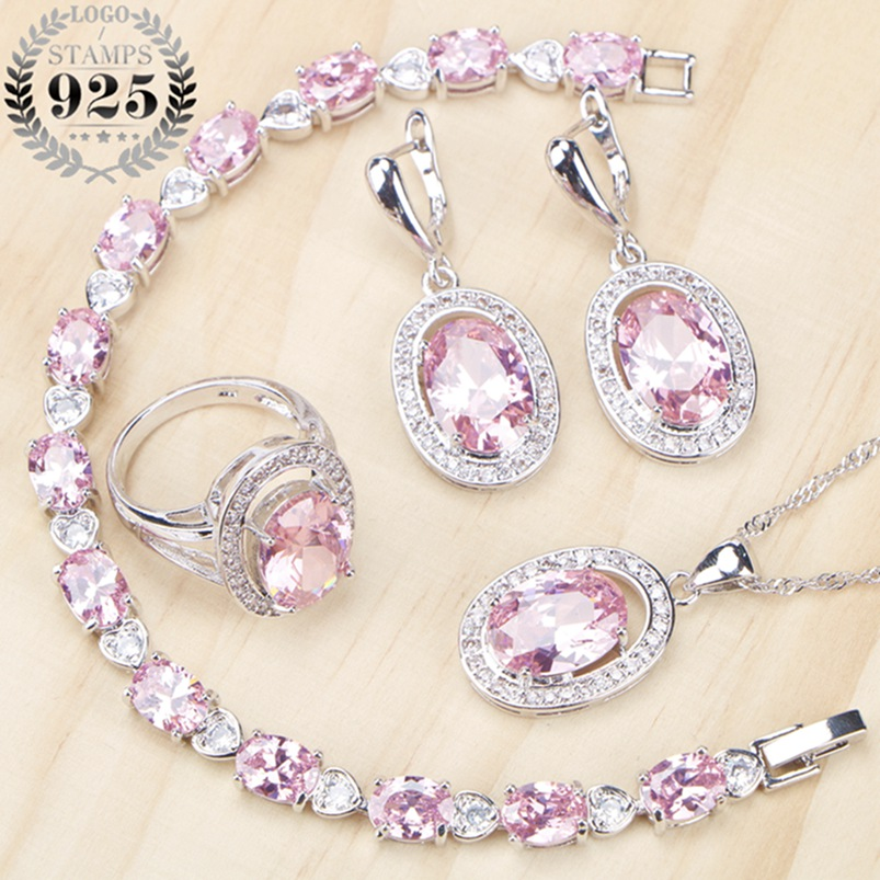 Pink Cubic Zirconia Costume Jewelry Sets Silver 925 Fashion Women Jewelery Earrings Pendant&Necklace Ring Bracelet Free Gift Box