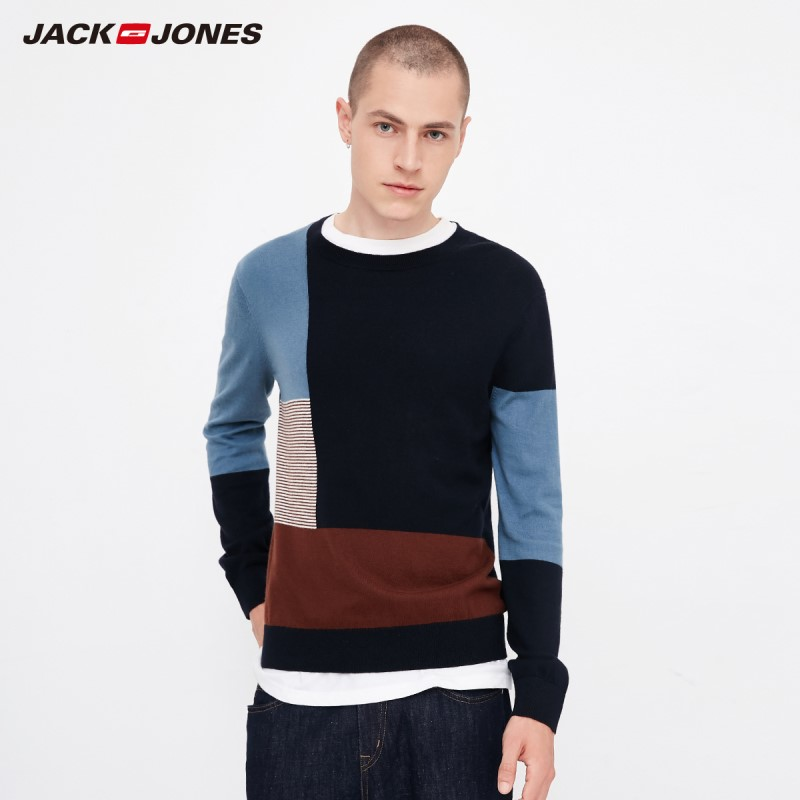 JackJones Autumn Men's Comfortable Cotton Color Block Stitching Casual Sweater Top Menswear Style 218324524