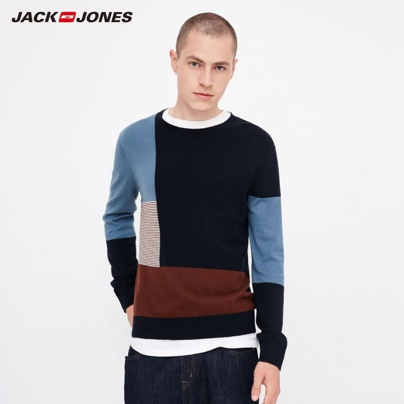 JackJones Autumn Men's Comfortable Cotton Color Block Stitching Casual Sweater Top Menswear Style 218324524