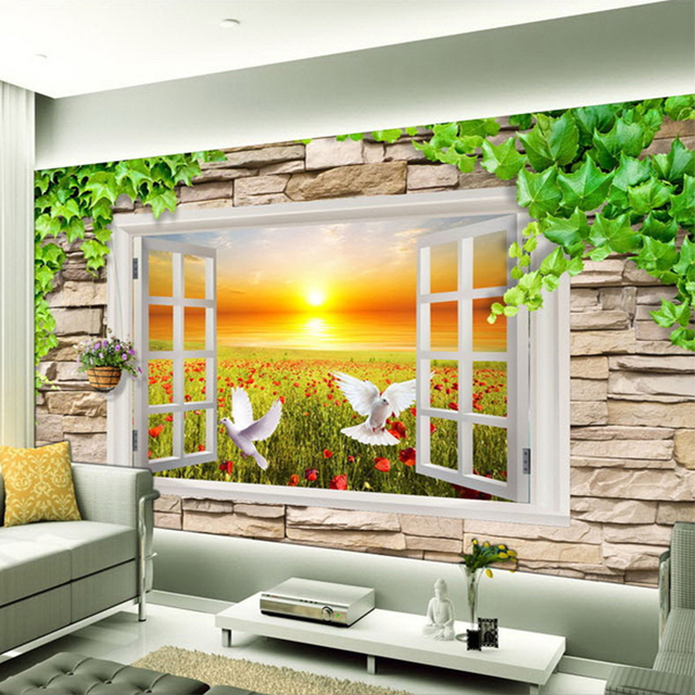 3D Stereo Window Outside The Window Art TV Background Wall Wall ...