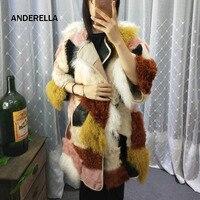 2018 г. зимние женские пальто с мехом Мода натурального меха овчины куртка с двух сторон, дизайн разноцветные famale теплое пальто бесплатная дос