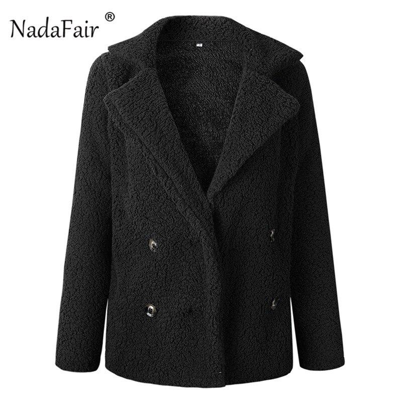 Nadafair plus size fleece faux fur jacket coat women winter pockets thicken teddy coat female plush overcoat casual outerwear 32