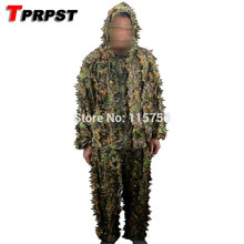 TPRPST Polyester Outdoor Woodland Sniper Ghillie Suit Kit Cloak Military 3D Leaf Camouflage Camo Jungle Hunting Birding Suit(China)