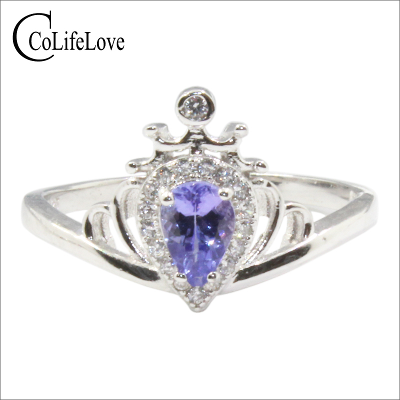 Royal design silver tanzanite ring 4 mm*6 mm pear cut tanzanite crown ring for engagement 925 sterling silver tanzanite jewelryRoyal design silver tanzanite ring 4 mm*6 mm pear cut tanzanite crown ring for engagement 925 sterling silver tanzanite jewelry
