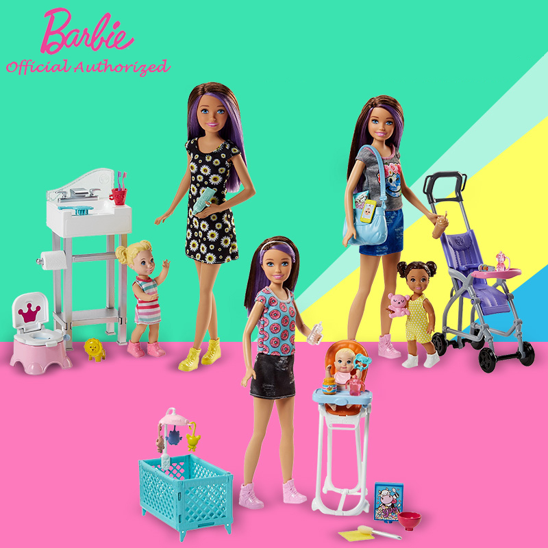Original Barbie Skipper BabySitters 3 Style Doll Toys Learning Take Care The Baby As a Mother With Many Accessories For Gift