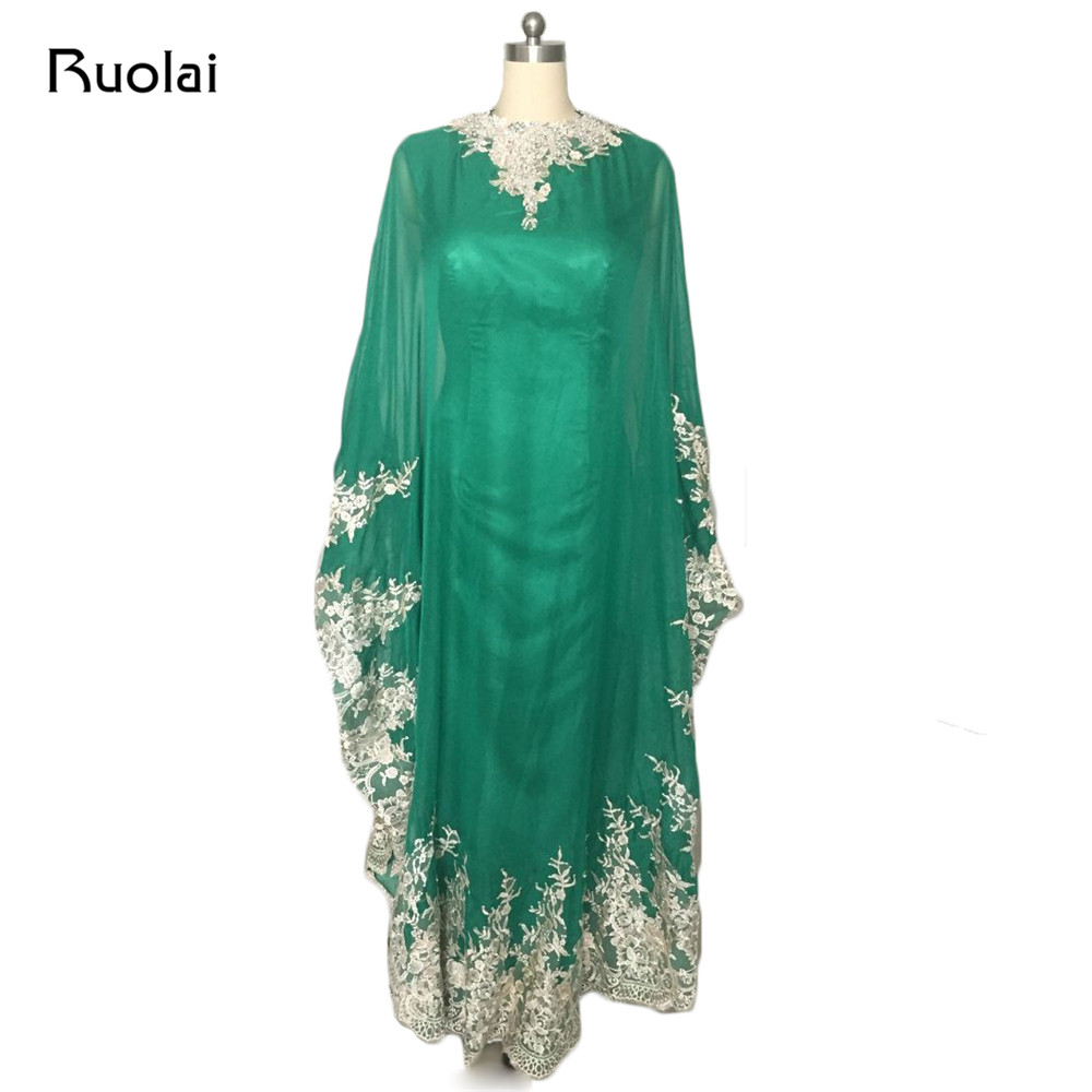Real Photo Muslim Evening Dresses Long Chiffon Appliques Beaded with Cape Dubai Caftan Prom Dress 2017 Robe de Soiree PD93