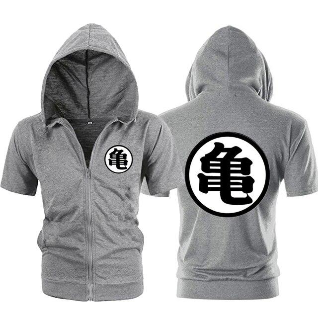 Casual Funny Print Dragon Ball Goku Hoodie Men Black Gray Cosplay Sweatshirt Fashion Short Sleeve Zipper Mens Hoodies Jackets 1