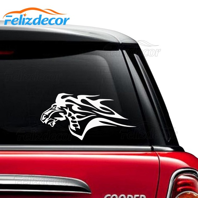 Horse flames car decal removable vinyl car window sticker black white horse head decals cz18