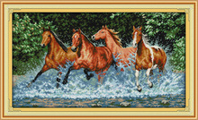 Фотография Running horses Printed Canvas DMC Counted Cross Stitch Kits printed Cross-stitch set Embroidery Needlework