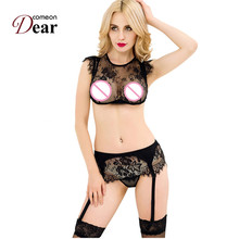 RK80312 Women Sexy Floral Lace Halter Bra Set Sheer See-thro