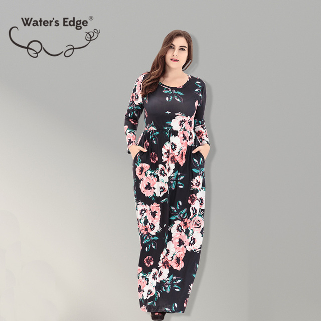 Water's Edge Large Size Flower Summer Dress Maxi O-neck Party Office Beach Dresses Plus Size Elegant Vestidos Clothes 5XL 6XL